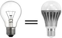 Соответствие мощности ламп накаливания к светодиодным лампам.