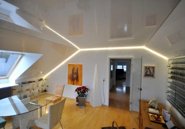 Применение светодиодной ленты для освещения мансарды.