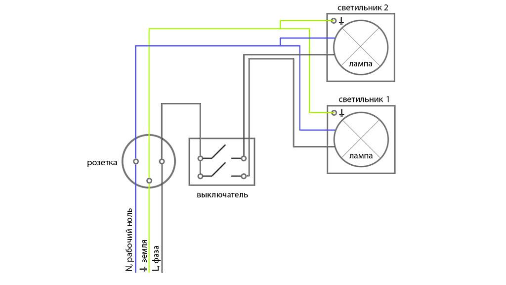 Схема подключения выключателя от розетки.