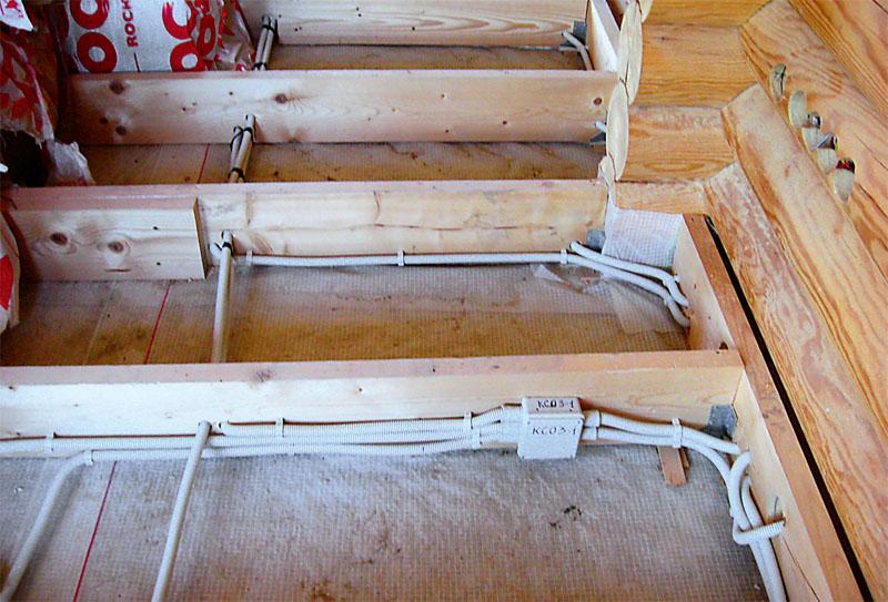 Разводка электросети проводами в гофрорукавах, расположенных между лагами пола первого этажа.