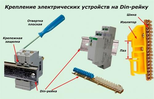 Установка DIN-рейки и автоматов с клемниками.