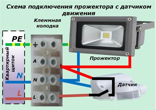 Схема подключения прожектора с датчиком движения.