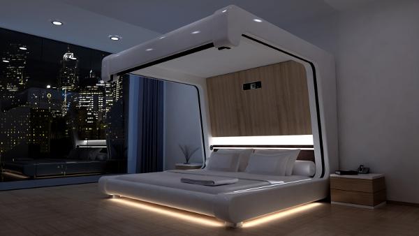 Дизайн освещения спальни в стиле хай тек.