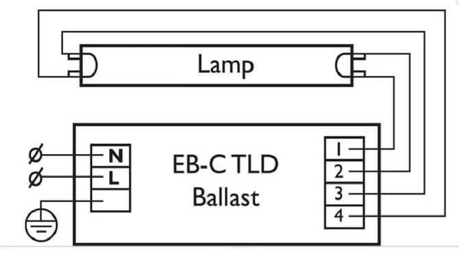Схема подключения электронного балласта.