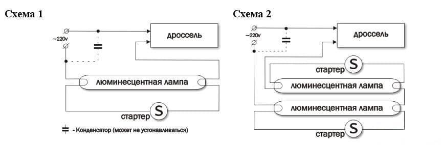 Схема работы режимов зажигания и свечения
