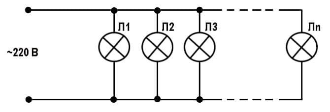 Электрическая схема ретрогирлянды с лампочками на 220 вольт.
